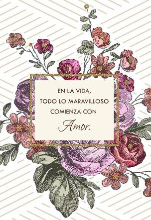 Everything Starts With Love Spanish-Language Wedding Card