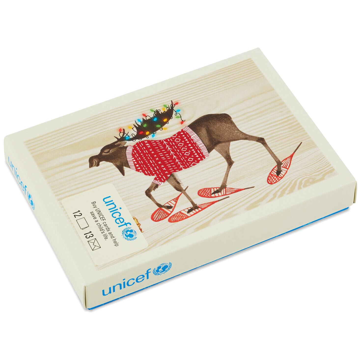 unicef festive moose christmas cards box of 12 boxed cards hallmark