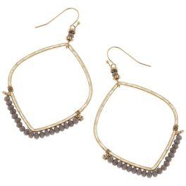 Gray Beaded Hoop Earrings, , large