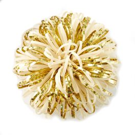 """Ivory and Gold Metallic Pom Pom Gift Bow, 5"""", , large"""