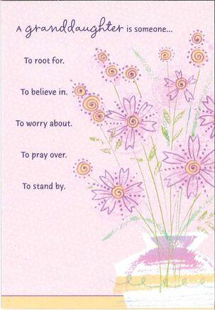Purple Flowers in Vase Granddaughter Birthday Card