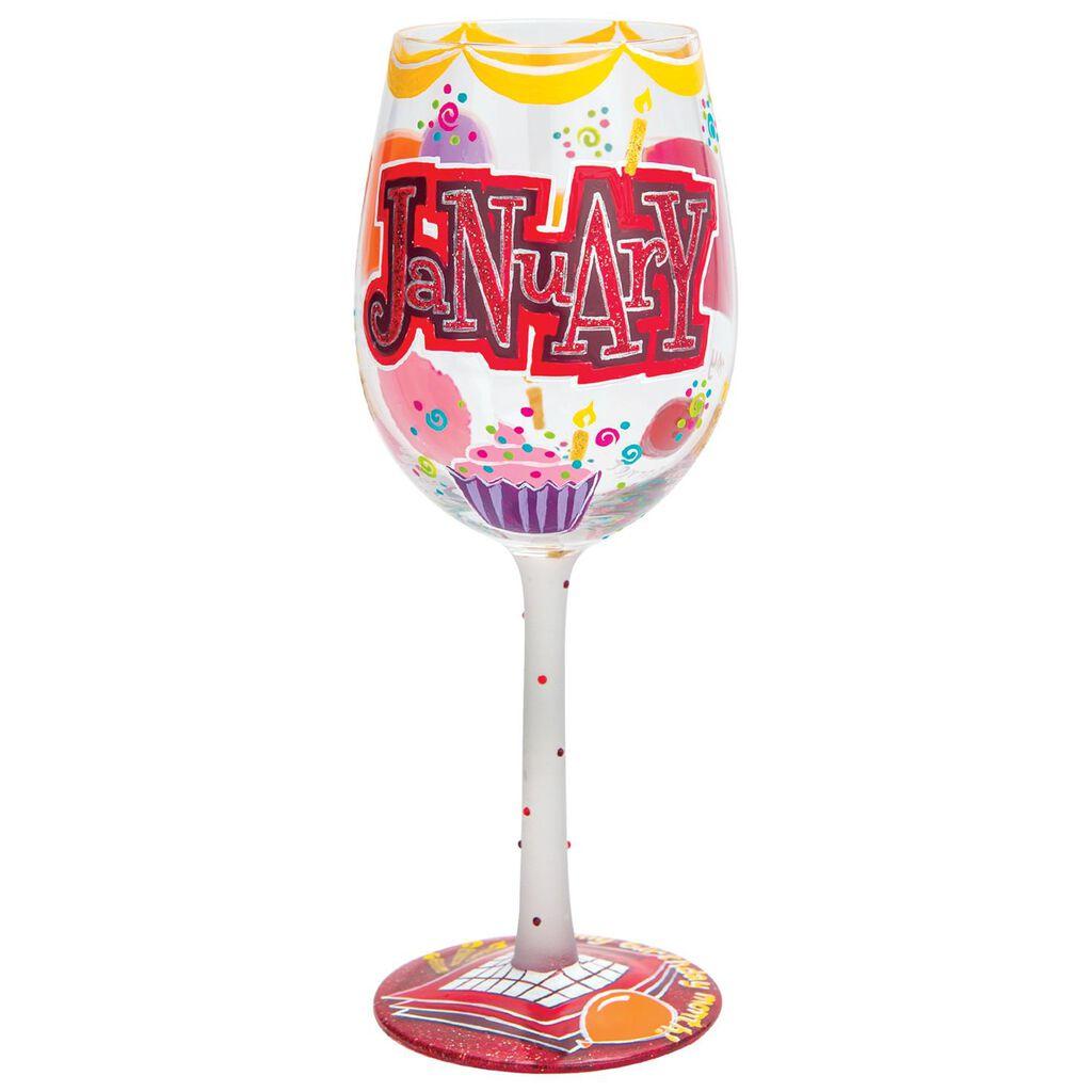 LolitaR January Birthday Cupcake Hand Painted Wine Glass 15 Oz