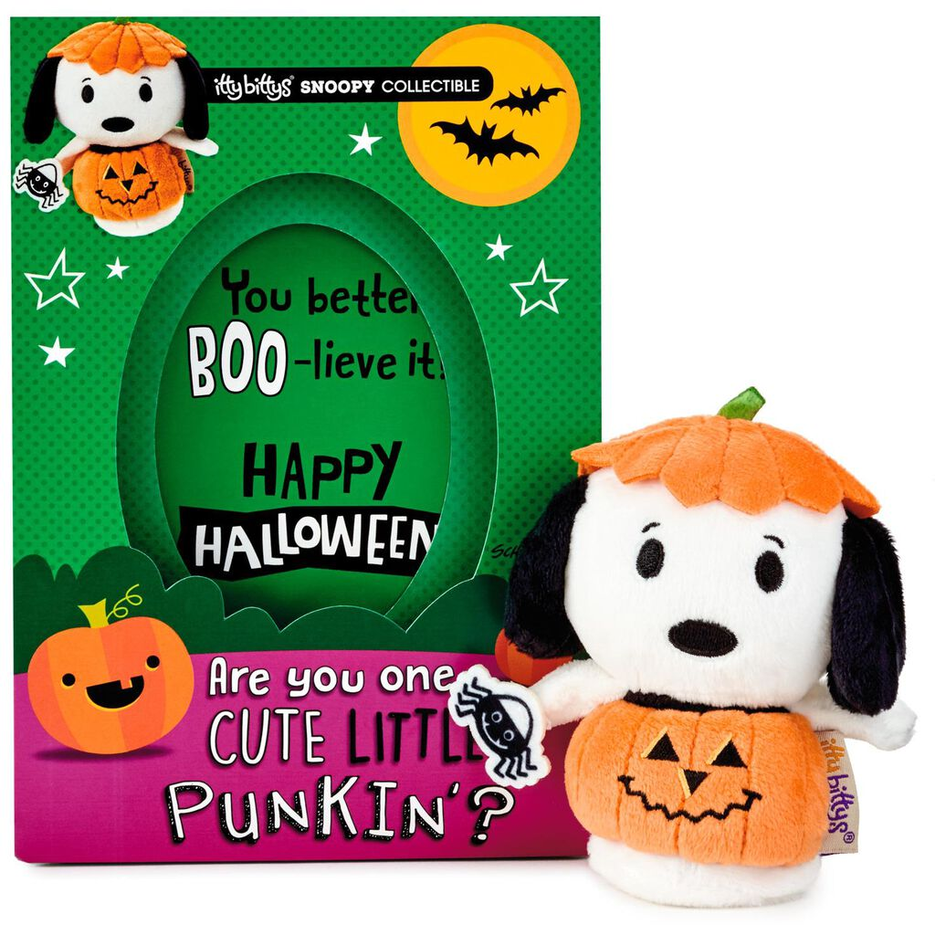 itty bittys® peanuts® snoopy halloween card with stuffed animal