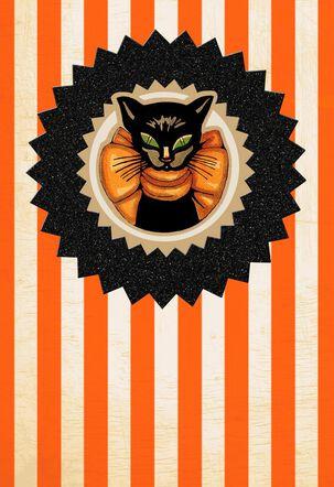Magic and Mischief Black Cat Halloween Card