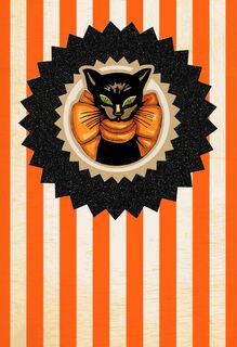 Magic and Mischief Black Cat Halloween Card,