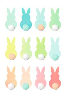 Pastel Bunnies With Cottontails Easter Card,