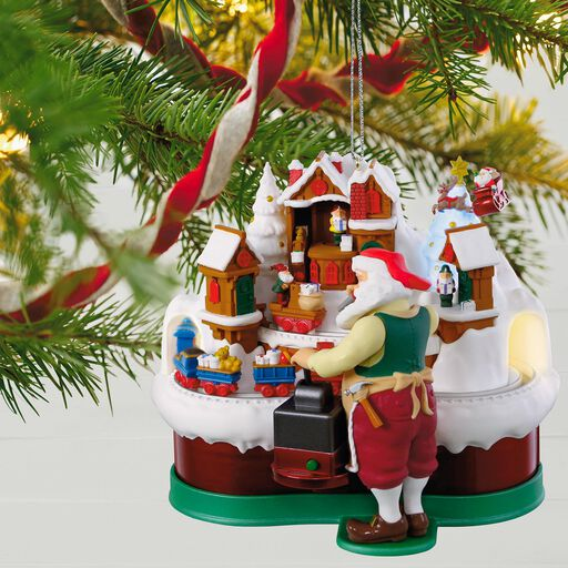 santas magic train musical ornament with light and motion