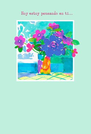 Watercolor Bouquet Spanish-Language Thinking of You Card