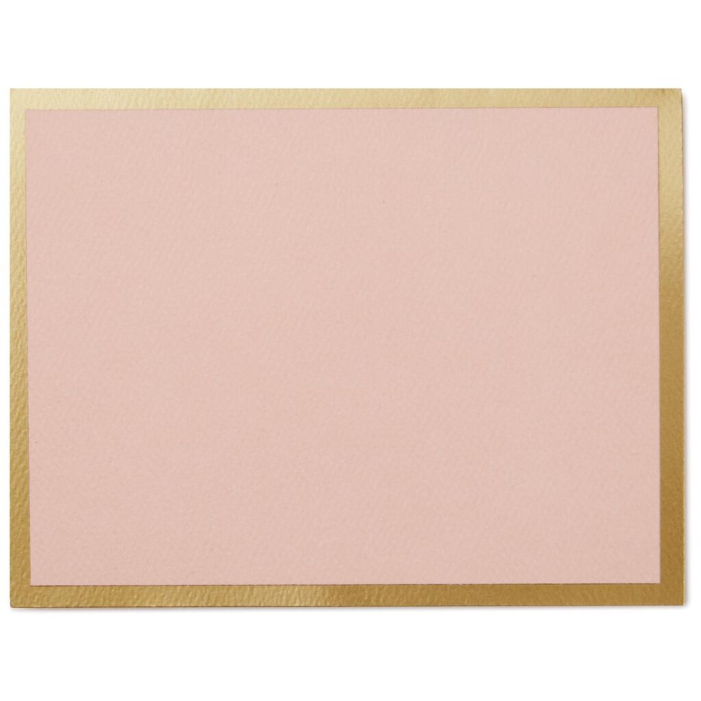light pink with gold border blank note cards pack of 10 note