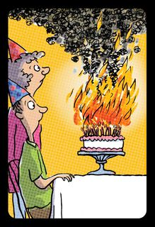 Flaming Cake Funny Birthday Card,