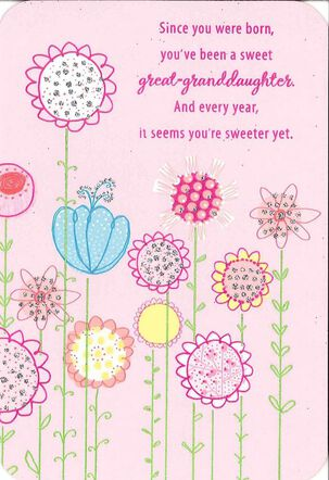 For a Sweet Great-Granddaughter Birthday Card
