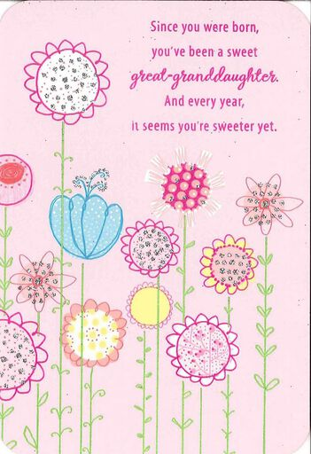 For A Sweet Great Granddaughter Birthday Card