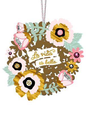 La Vida Es Bella Floral Wreath Spanish-Language Birthday Card