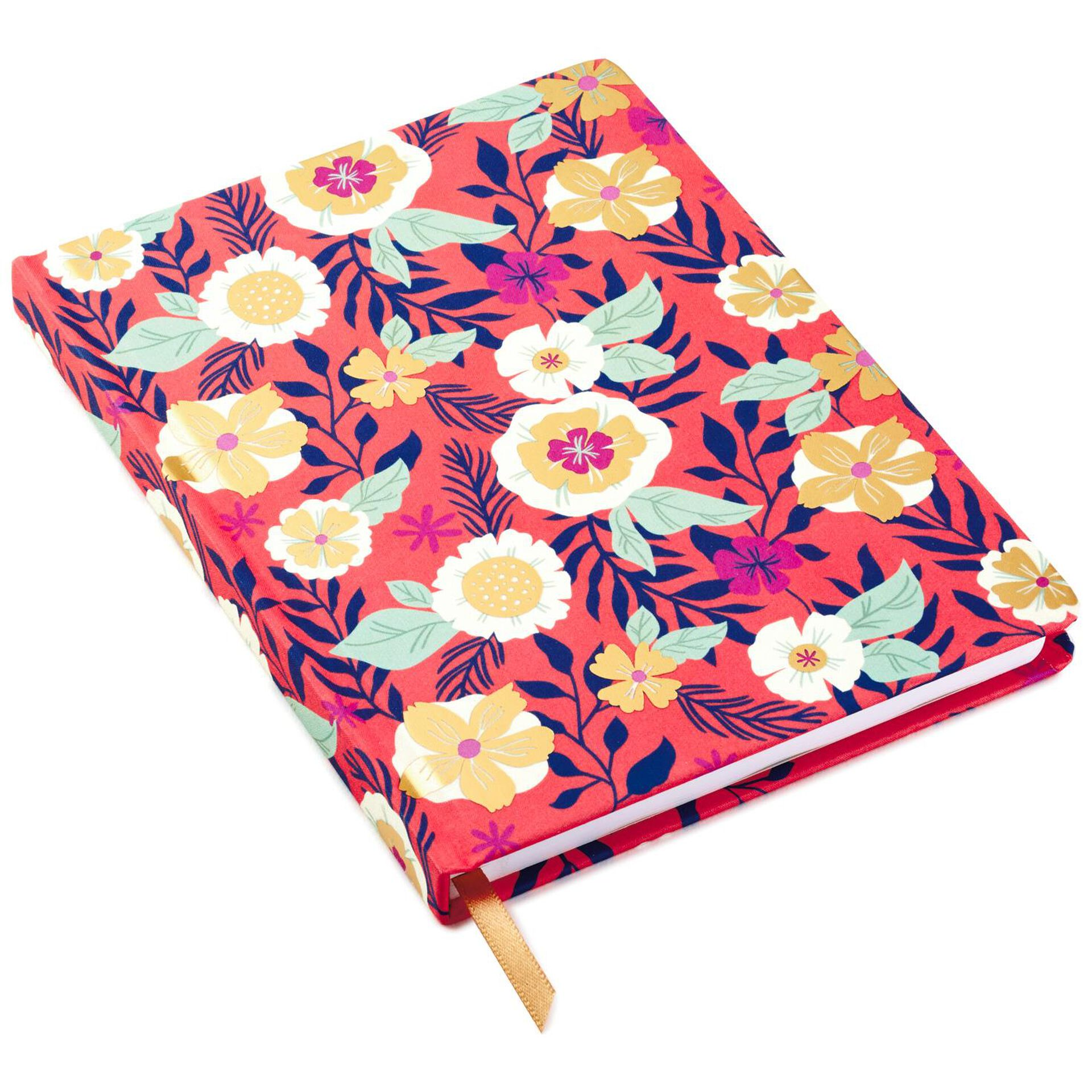 Coral With Floral Hardback Notebook