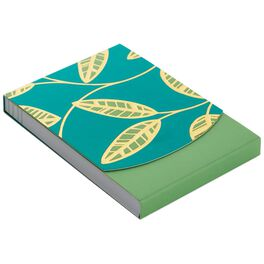 Green and Gold Leaves Notepad, 75 Sheets, , large