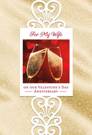 Champagne Anniversary Valentine's Day Card for Wife
