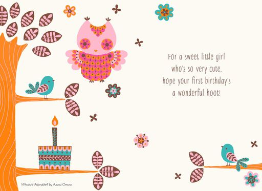 What A Hoot 1st Birthday Card