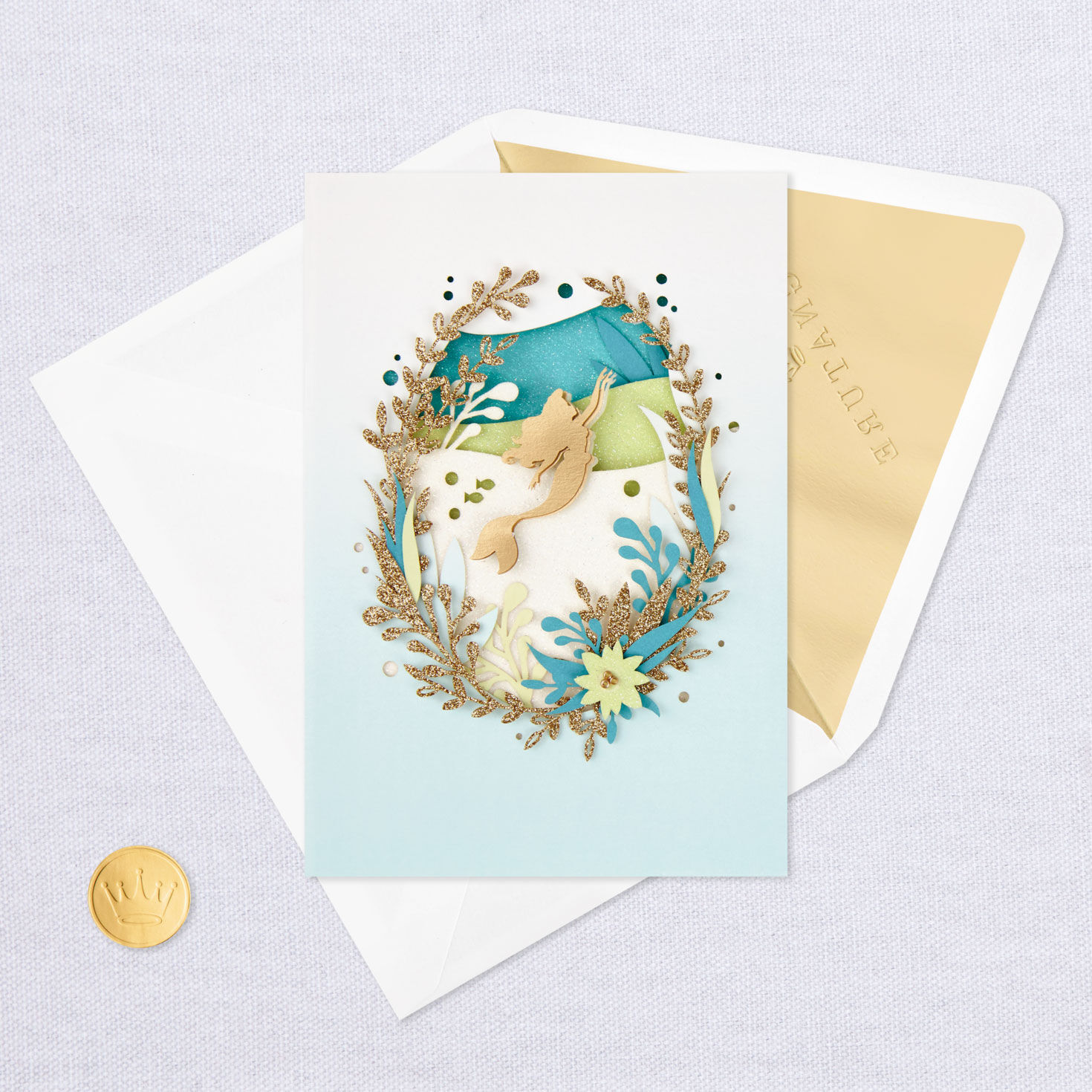 graphic regarding Printable Thinking of You Card referred to as Disney The Minor Mermaid Blank Asking yourself of Your self Card