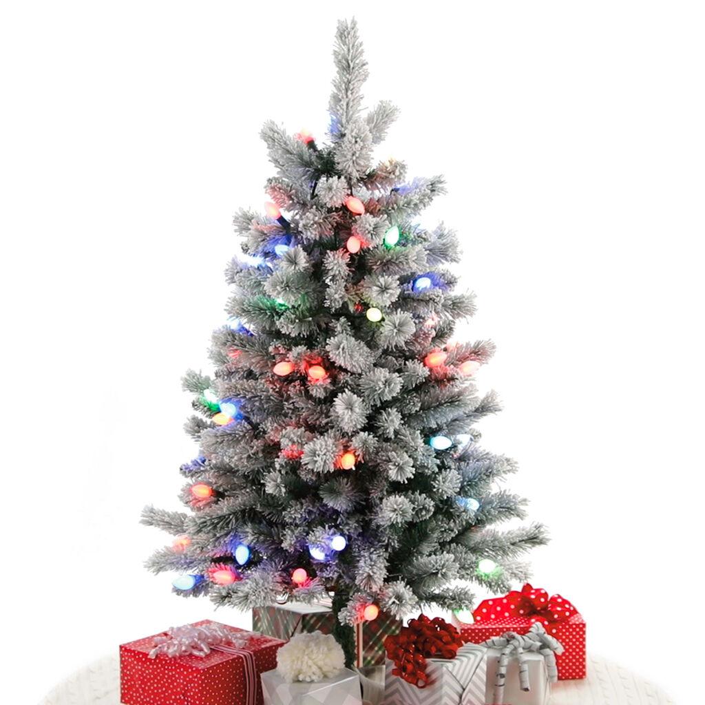 Sound-A-Light Musical Flocked Christmas Tree With Lights, 4' - Keepsake Ornaments - Hallmark