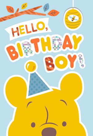 Winnie the Pooh Birthday Card for Boy With Stickers