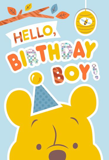 Winnie The Pooh Birthday Card For Boy With Stickers Greeting Cards