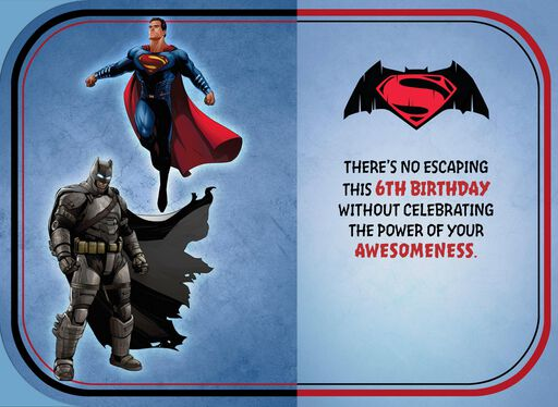 Batman V Superman: Dawn of Justice™ Musical 6th Birthday Card,
