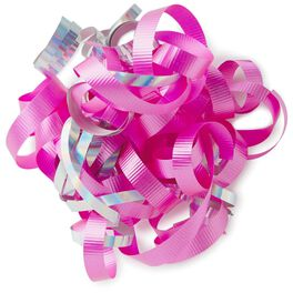 "Hot Pink and Iridescent Rainbow Curly Ribbon Gift Bow, 6.5"", , large"