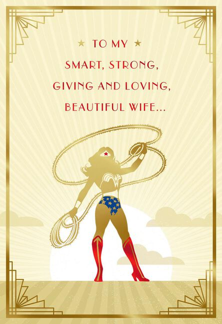 Dc Comics Wonder Woman You Save My World Birthday Card For Wife