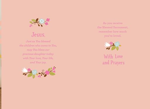 White Dress First Communion Card for Precious Daughter,