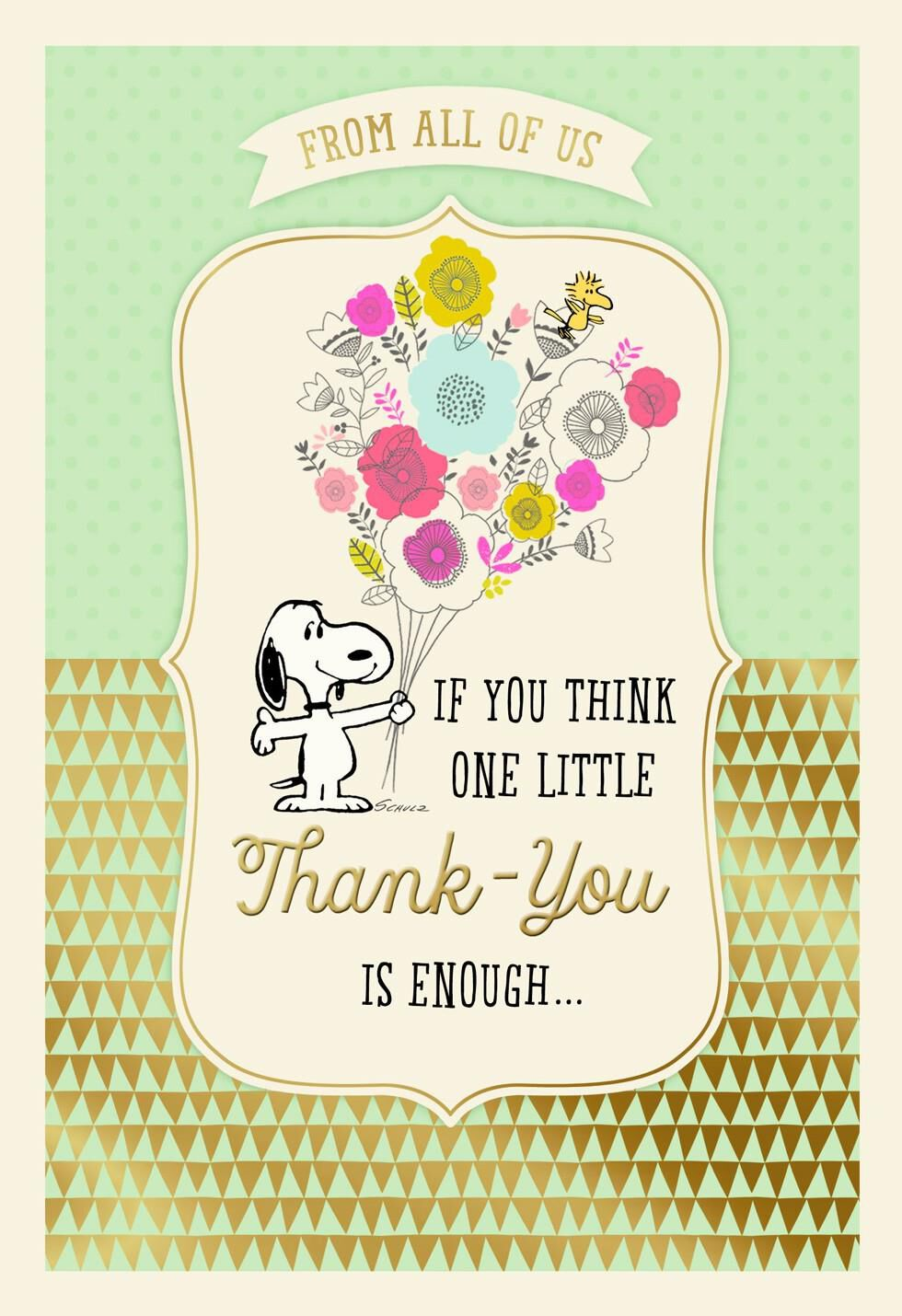 Peanuts Administrative Professionals Day Thank You Card Greeting