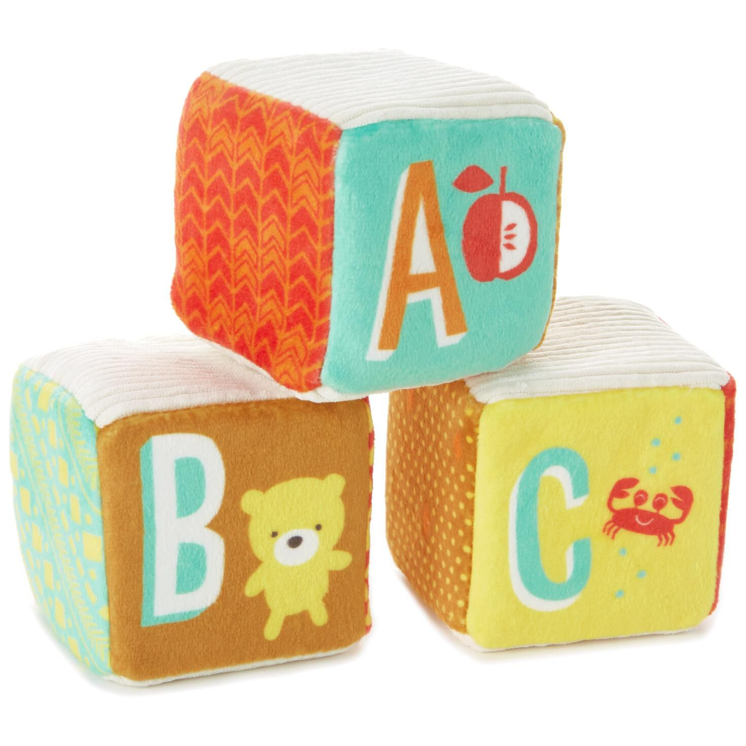 letters and numbers stuffed rattle baby blocks set of 3 baby toddler toys hallmark