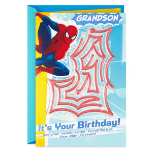 Marvel Spider-Man Birthday Card for Grandson With Pinball Maze