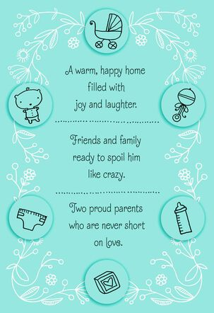 Joy and Laughter New Baby Boy Card