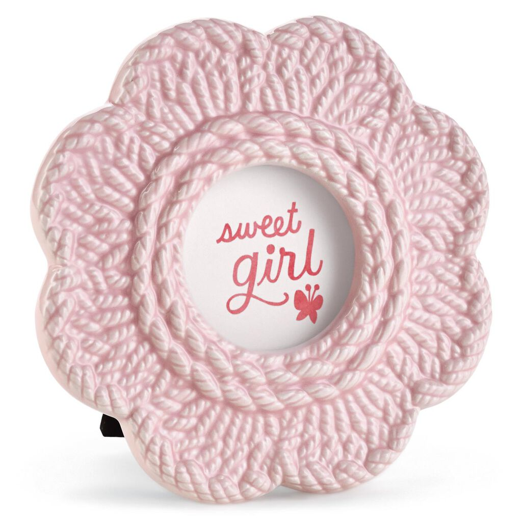 Sweet Girl Pink Crochet Flower Baby Picture Frame - Picture Frames ...