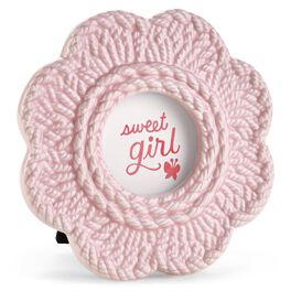 Sweet Girl Pink Crochet Flower Baby  Picture Frame, , large