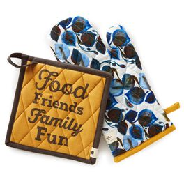 Food Friends Pot Holder/Oven Mitt Set, , large