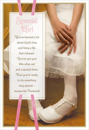 White Dress Religious First Communion Card for a Special Girl