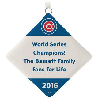 Chicago Cubs™ Ceramic Personalized Ornament with Text, Diamond-Shaped,
