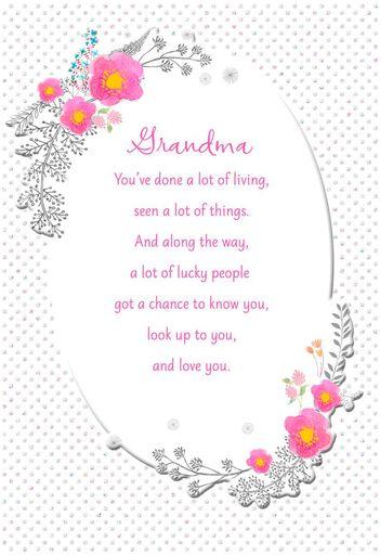 Flower Wreath And Polka Dots Birthday Card For Grandma
