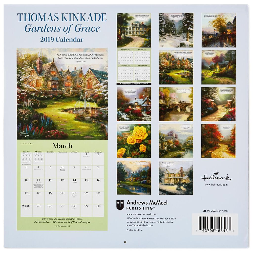 thomas kinkade gardens of grace 2019 wall calendar