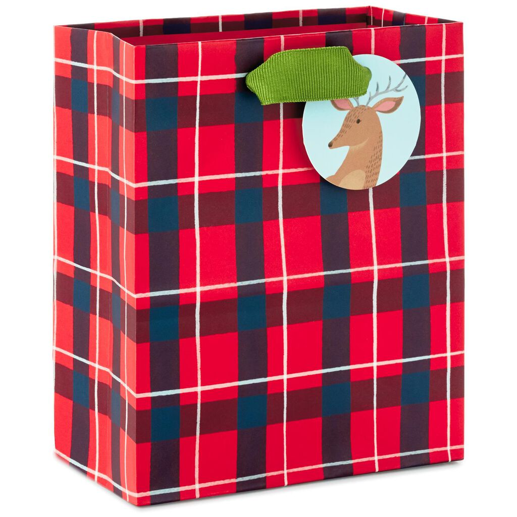 Red Plaid Deer Small Christmas Gift Bag, 6.5\