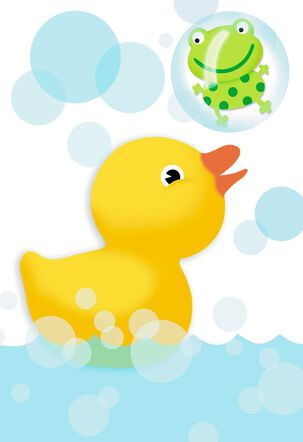 Rubber Duck and Frog With Bubbles Blank New Baby Card