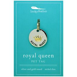 Royal Queen Pet Tag in Silver & Gold-Plate, , large