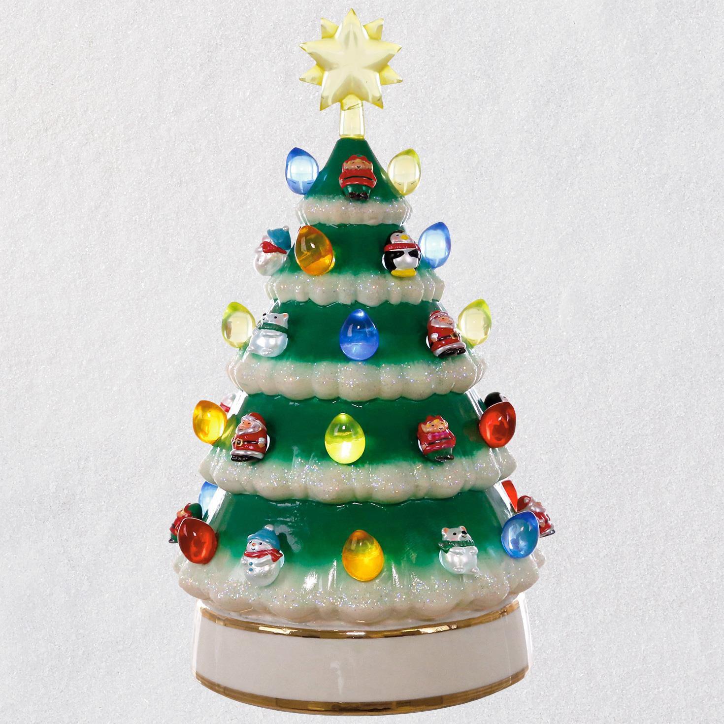 mini porcelain tabletop tree with light 10 keepsake ornaments hallmark