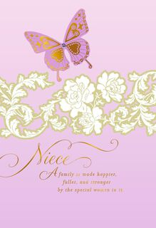 Lavender Butterfly Card for Niece on Mother's Day,