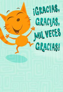 Happy Cat Funny Spanish-Language Thank You Card,