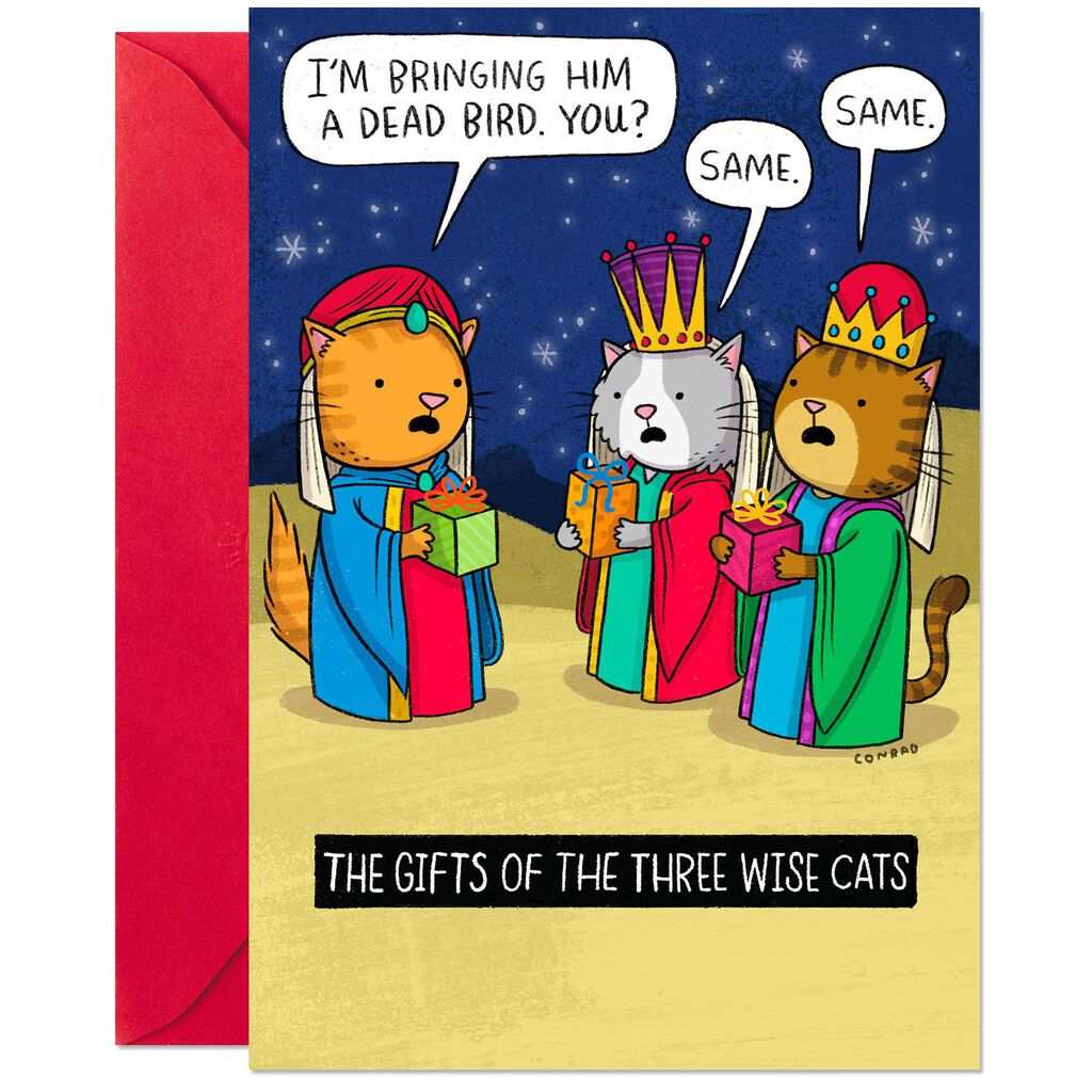 The Three Wise Cats Funny Christmas Card - Greeting Cards - Hallmark