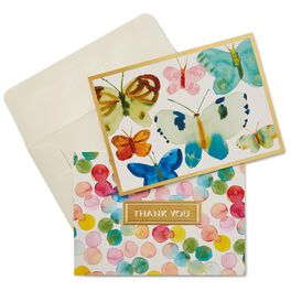 Watercolor Butterflies and Dots Thank You Notes, Box of 50, , large