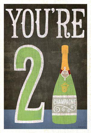 Champagne Bottle 21st Birthday Card