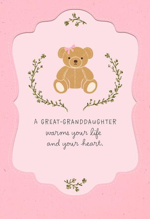 Teddy Bear New Baby Great-Granddaughter Congratulations Card